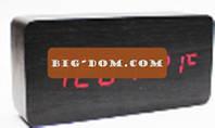Настольные часы декоративные VST-862-1 с красной подсветкой в виде деревянного бруска