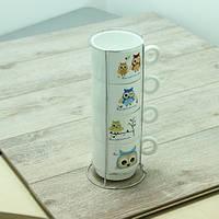 Набор чайный на 4 персоны на подставке Совы