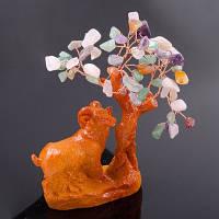 Денежное дерево из самоцветов в керамике - Козерог, Овен, Коза