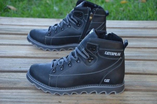 ef1a94773 Зимние ботинки в стиле Caterpillar (CAT) натуральная шерсть кожа черные  высокие
