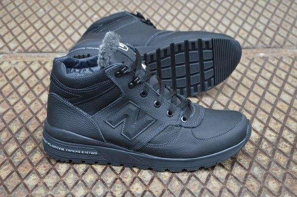 Зимние ботинки в стиле New Balance натуральная шерсть кожа черные высокие 5ba7b793a92