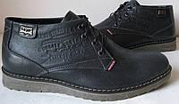 Levis зимние Темно Синие стильные кожаные мужские ботинки Левайс 2017 теплые Levi`s