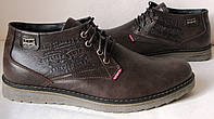 Levis зимние стильные кожаные мужские ботинки супер Левайс в коричневом цвете реплика, фото 1