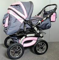 Коляска-трансформер Trans baby Prado, серо-розовая