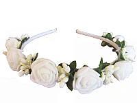 Обруч Троянда мала білий (шт.) (Украинские венки, обручи, заколки)