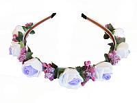 Обруч Роза маленькая бело-фиолетовый (Украинские венки, обручи, заколки)