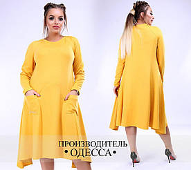 Платье 48+ асимметричное с карманами арт 1322-116