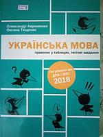 ЗНО 2018. Українська мова. Правопис у таблицях, тестові завдання.