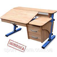 """Письменный стол """"Эргономик"""" с тумбой детский дерево 120х70см"""