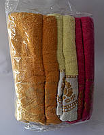 """Полотенце для лица """"Цветочки"""" лен-махра"""