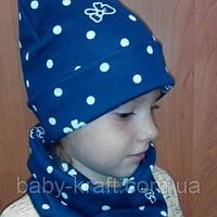 Комплект шапка на флисовой подкладке и снуд на девочку 4-6 лет