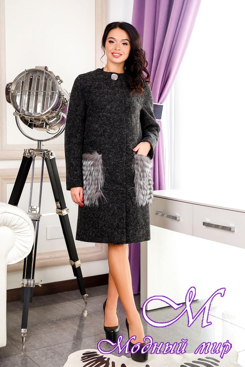 Женское батальное пальто с чернобуркой (р. 44-58) арт. 966 Тон 260