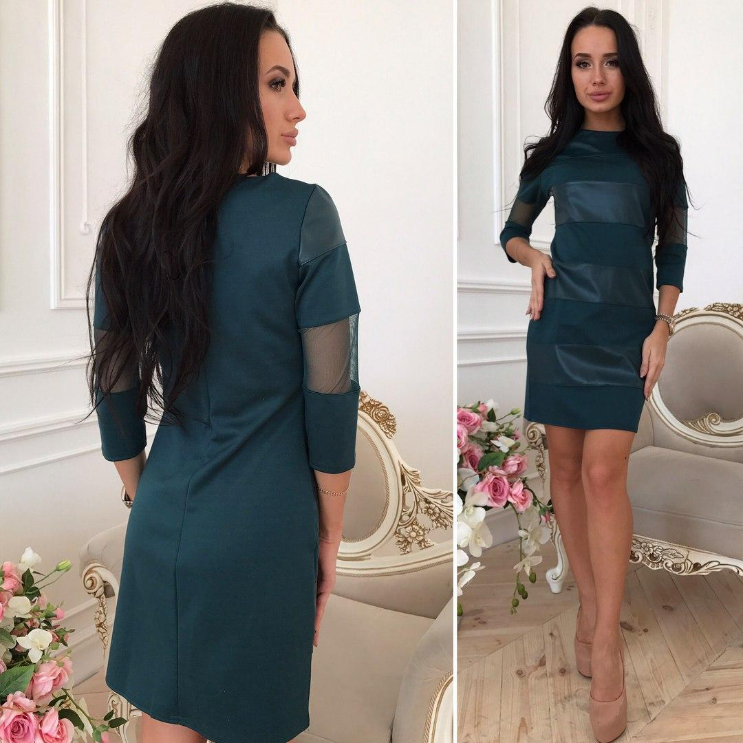 27e96027368 Купить Платье трикотажное с вставками из эко-кожи и сетки арт 1333 ...