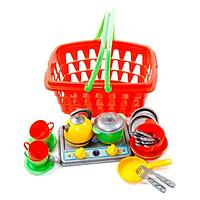 Корзинка с посудкой,игрушечная посуда (Галинка-10 Технок 1172)