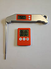 Термометр для мяса складной Vershold FCT0224p-15 ( 0-200 С ) с таймером. Польша (Цвет: синий, оранжевый)