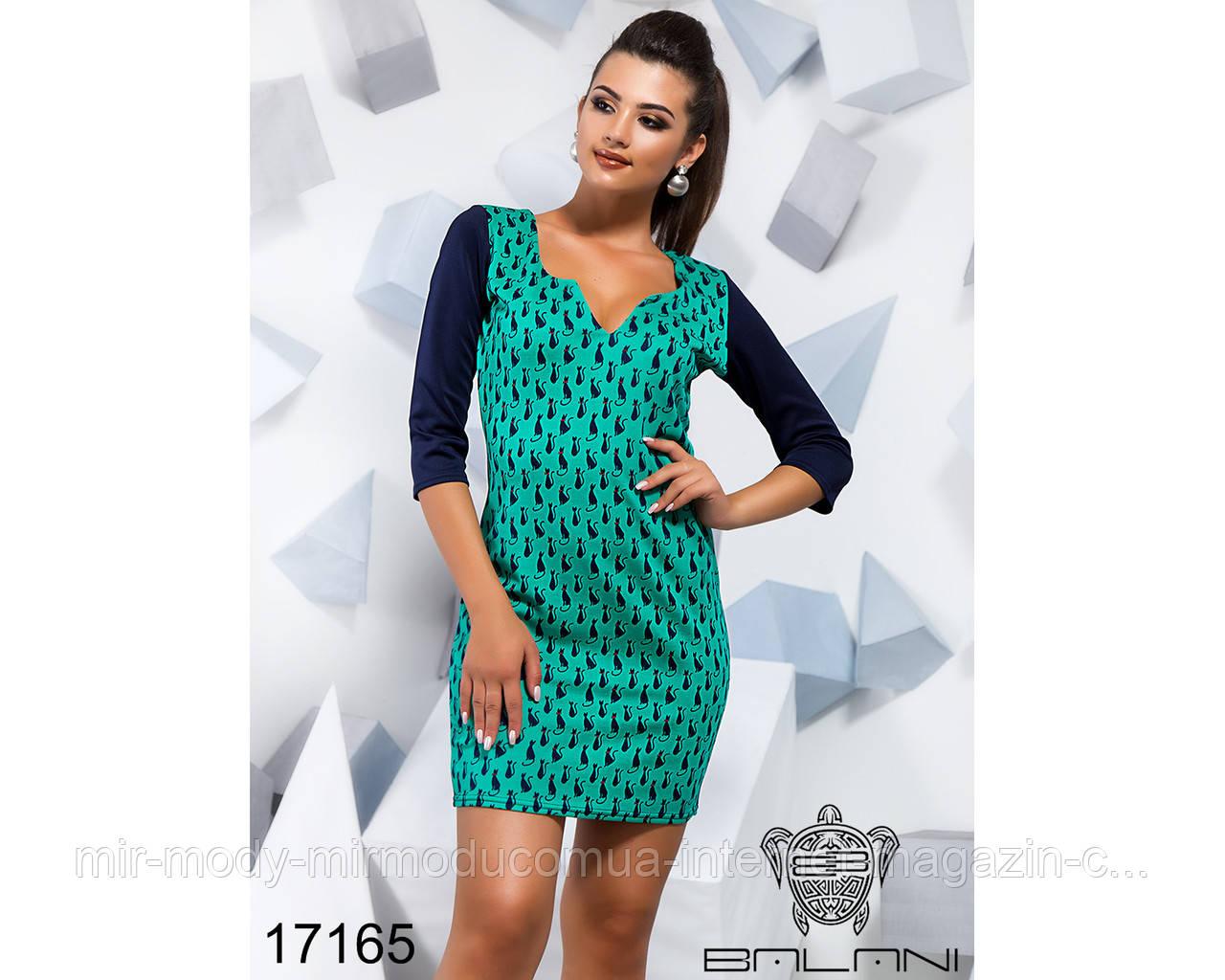 Облегающее принтованое платье - 17164 (б-ни)