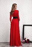 Длинное красное платье с кожаным пояском , фото 2