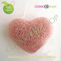 Спонж Конжаковый сердечко. Konjac sponge heart (розовый)
