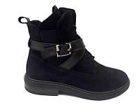Ботинки женские без каблука кожа/замша осень-весна черные Uk0491