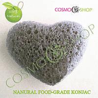 Спонж Конжаковый сердечко. Konjac sponge heart (черный)