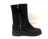 Ботинки женские высокие на низком каблуке замша/кожа осень-весна черные Uk0487