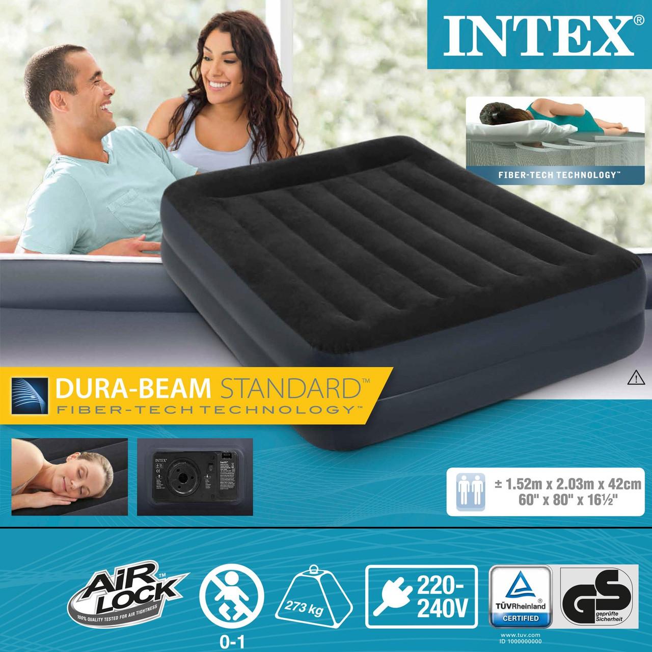 Надувная двуспальная кровать Intex 64124 (203 x 152 x 42см)