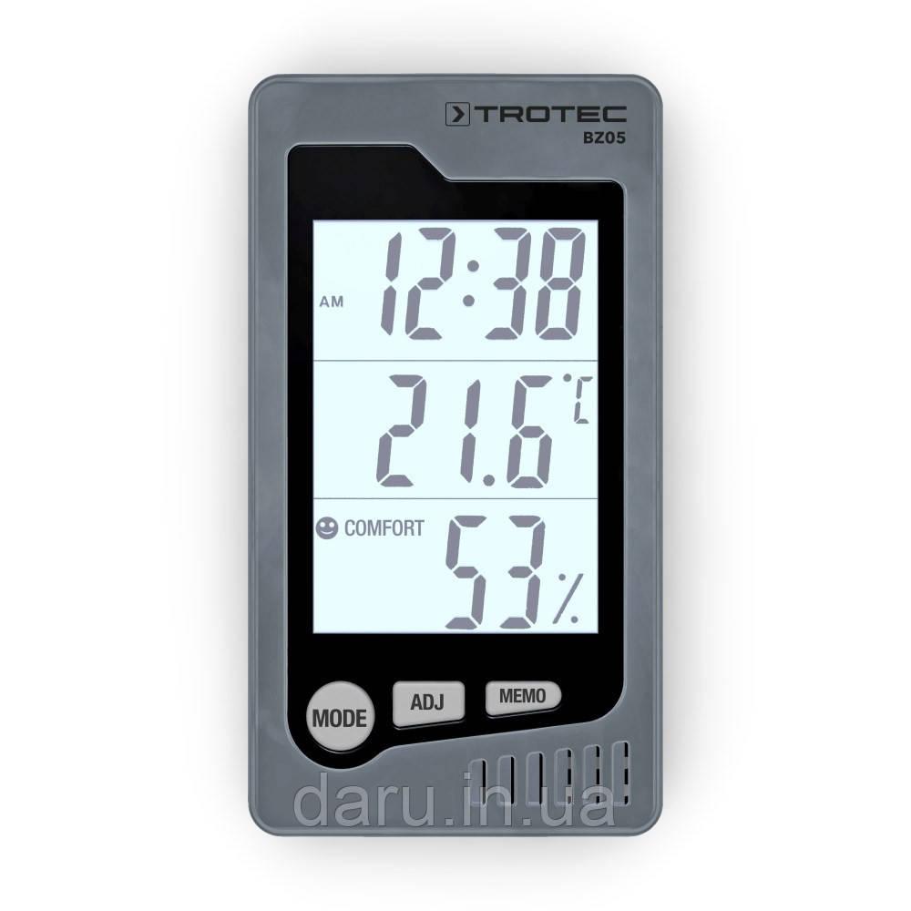 Цифровой термо-гигрометр Trotec BZ05 (термометр: -10 °C~+50 °C; гигрометр: 10%-99%), часы, дата