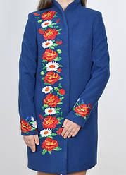 """Пальто женское вышитое """"Красочные сны"""" с воротником стойка"""