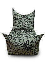 Серое бескаркасное кресло трон из мебельной ткани микро-рогожка Саванна с велюровым напылением