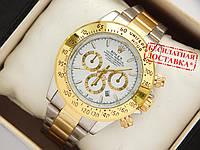 Кварцевые наручные часы Rolex Daytona комбинированные, белый циферблат, фото 1