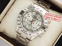 Чоловічий кварцевий наручний годинник Rolex Daytona на металевому ремінці сріблясті, фото 1