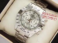 Мужские кварцевые наручные часы Rolex Daytona на металлическом ремешке серебристые, фото 1
