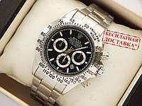 Кварцевые наручные часы Rolex Daytona серебро, черный циферблат, фото 1