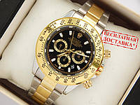 Кварцові наручні годинники Rolex Daytona комбіновані, чорний циферблат, фото 1