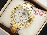 Кварцевые наручные часы Rolex Daytona комбинированные, серебристый циферблат, фото 1