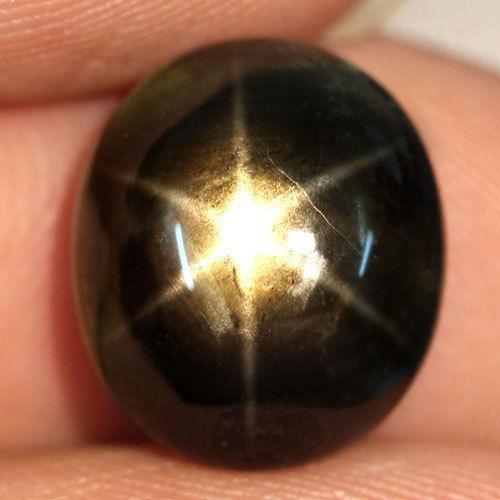Звездчатый сапфир натуральный 11.36 CT.  13.2 x 11.3 x 6.5 мм