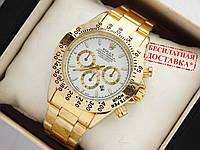 Кварцевые наручные часы Rolex Daytona золото, белый циферблат, фото 1