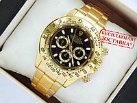 Мужские кварцевые наручные часы Rolex Daytona золото, черный циферблат, фото 1