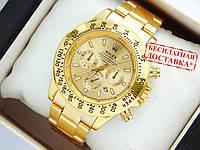 Чоловічий кварцевий наручний годинник Rolex Daytona з датою, золото, фото 1
