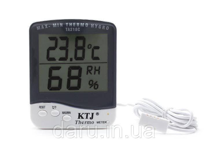 Термогигрометр KTJ Thermo TA218C (0°C ~ 50°C; 10% ~ 98%) с выносным датчиком температуры и влажности