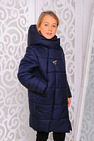 Куртка зимняя для девочки. Джинс. 122-146