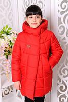 Куртка зимняя для девочки. Красный. 122-146