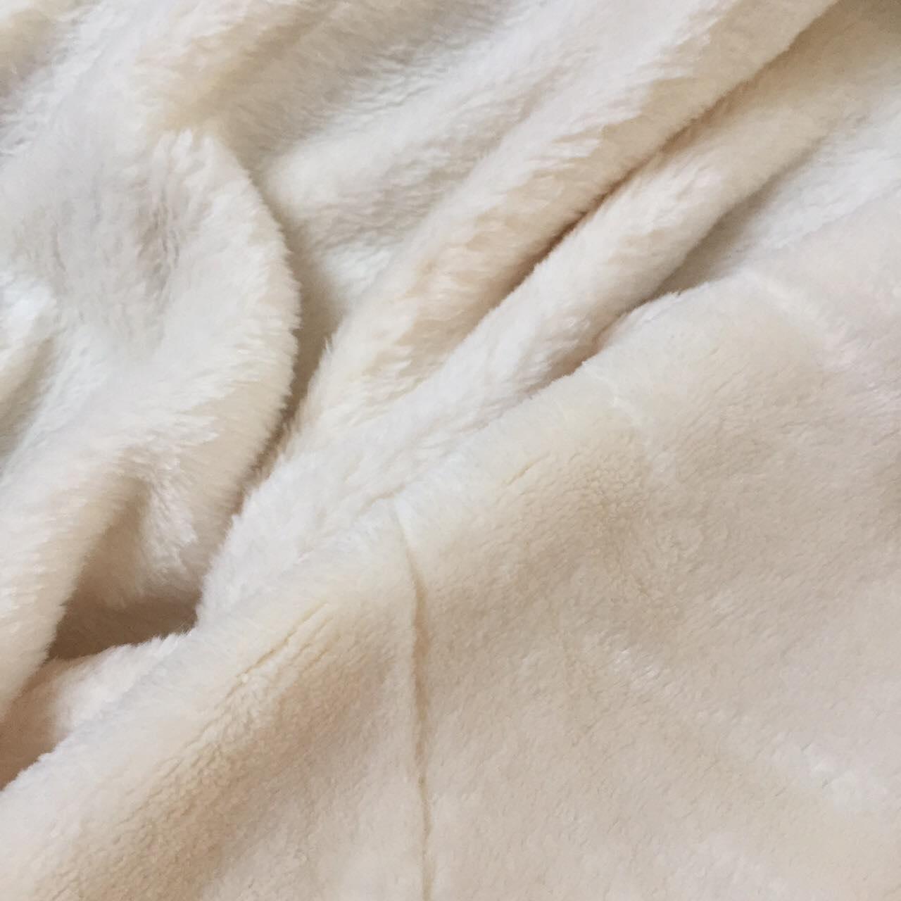 Плюш двухсторонний молочного цвета 300 г/м2 № пд-01-1