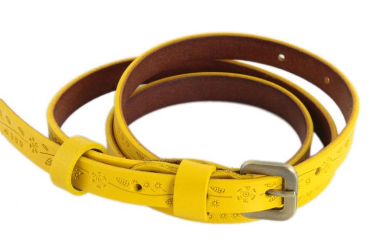 Элегантныйженский ремень из натуральной кожи110 см. TRAUM8825-56 желтый