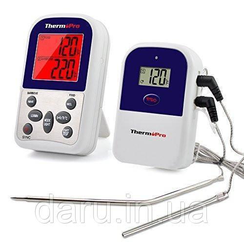 Беспроводной двухканальный термометр (до 100 м) ThermoPro TP-12 (0-300 °С) с таймером