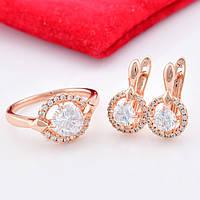 Набор R47 кольцо размер 18 + серьги 16*9 мм, белые фианиты, позолота РО