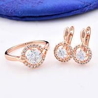 Набор R47 кольцо размер 19 + серьги 16*9 мм, белые фианиты, позолота РО