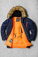 Теплая мужская зимняя парка Olymp - Аляска N-3B, Slim Fit, Color: Navy, зимняя аляска