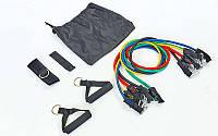 Эспандер Resistance Band многофункциональный 5 жгутов (5 эсп,креп.на дверь, 2рукоят, 2лямки)