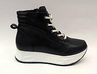 Ботинки женские на шнуровке кожа/замша осень-весна черные Uk0485